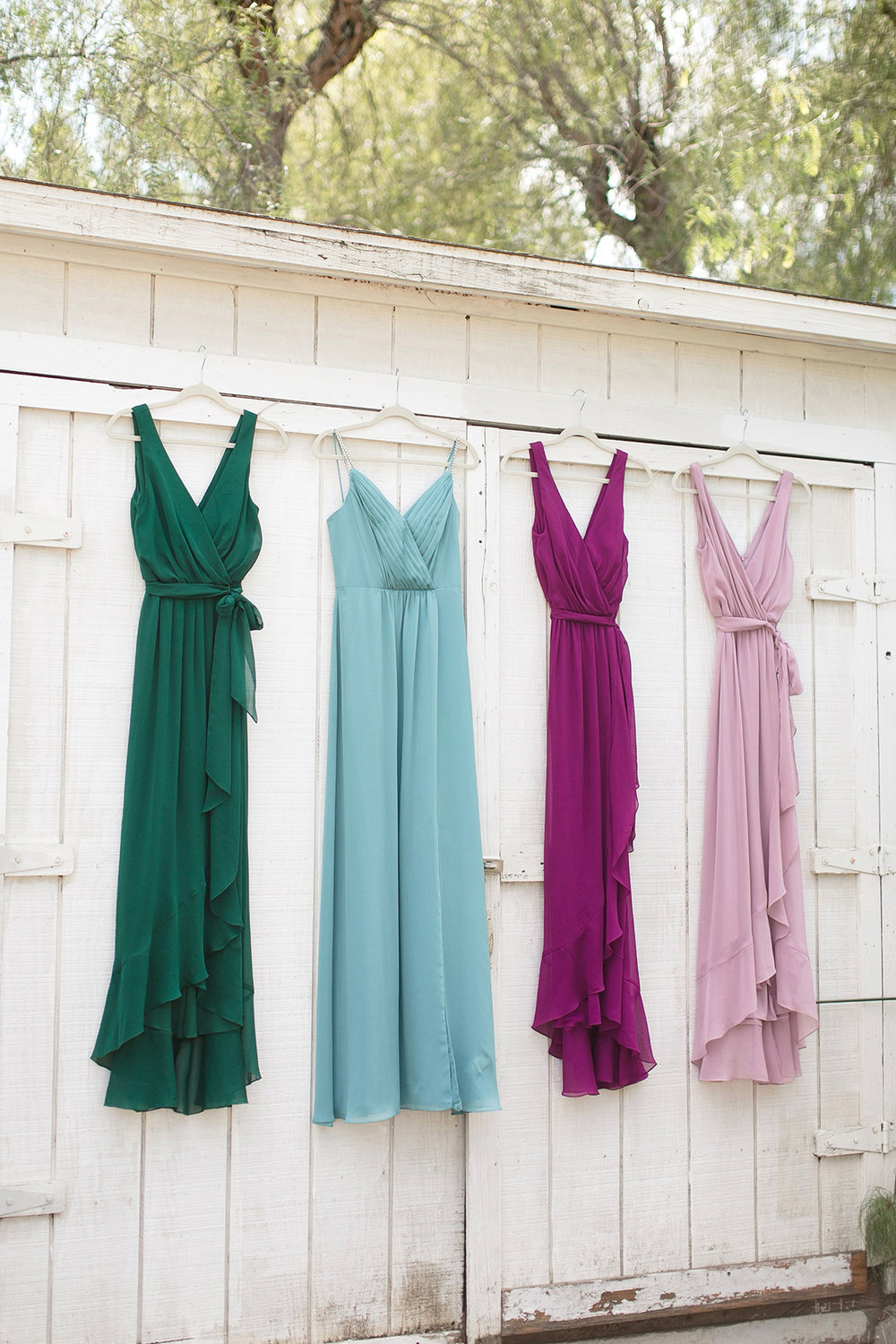 Jewel Tone Bridesmaid Dresses - Celestial Wedding Details - Watercolor Acrylic Wedding Invitations - David's Bridal