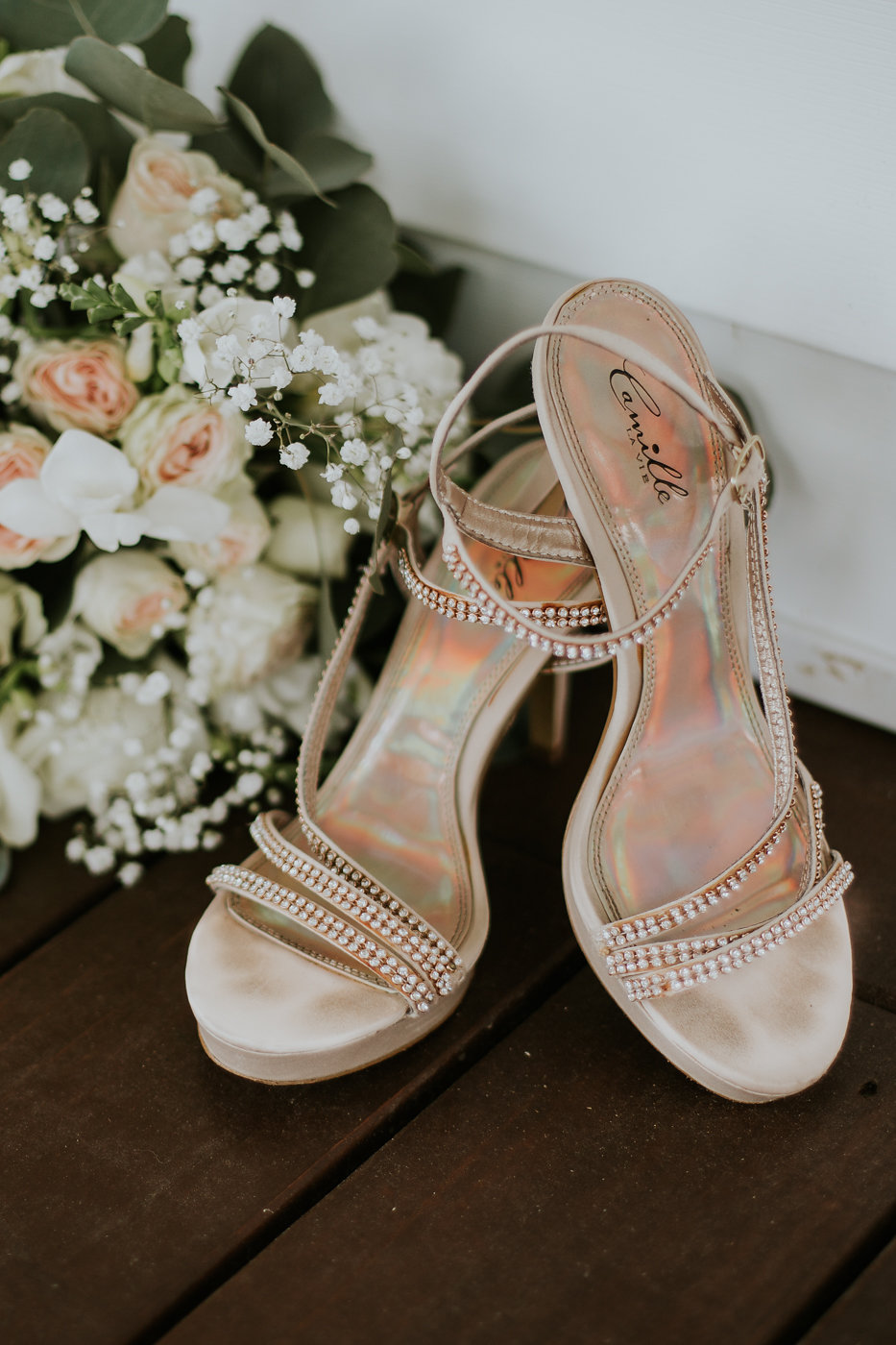 Gold Strappy Bridal Heels - North Carolina Wedding Venue - Triple J Manor House Wedding