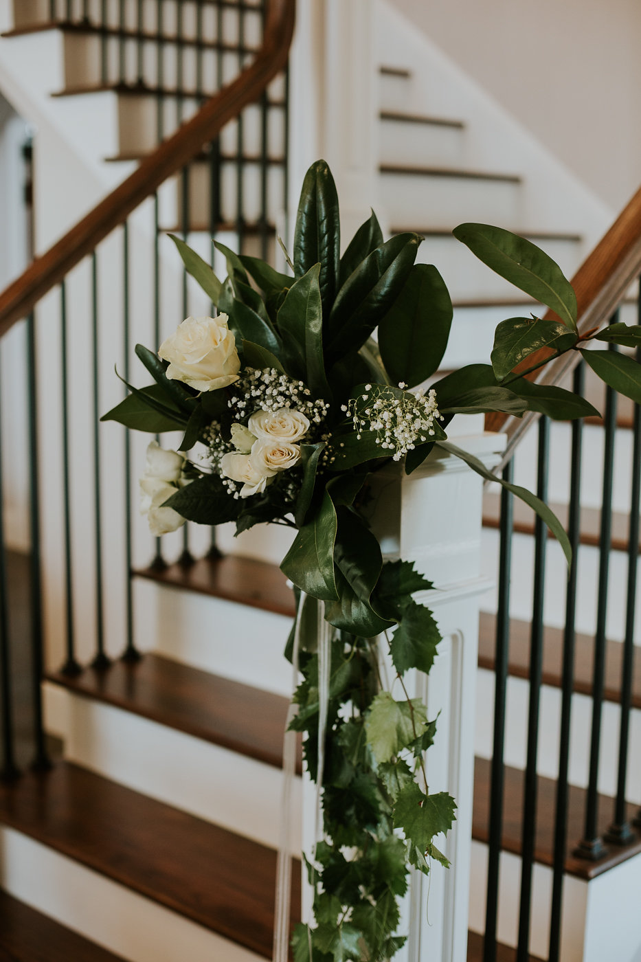 Staircase Wedding Decor - North Carolina Wedding Venue - Triple J Manor House Wedding