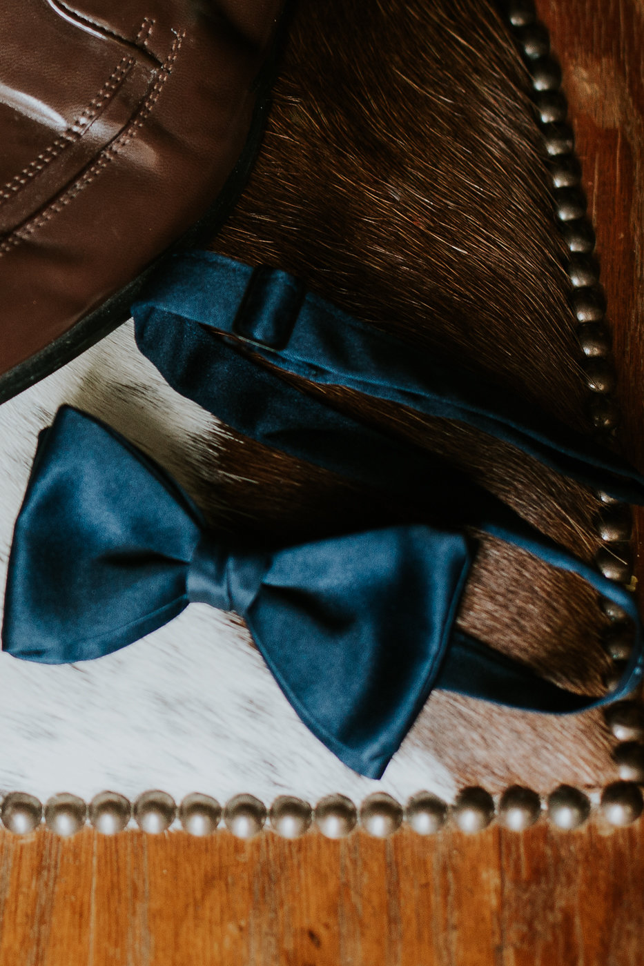 Navy Groom Bow Tie - North Carolina Wedding Venue - Triple J Manor House Wedding