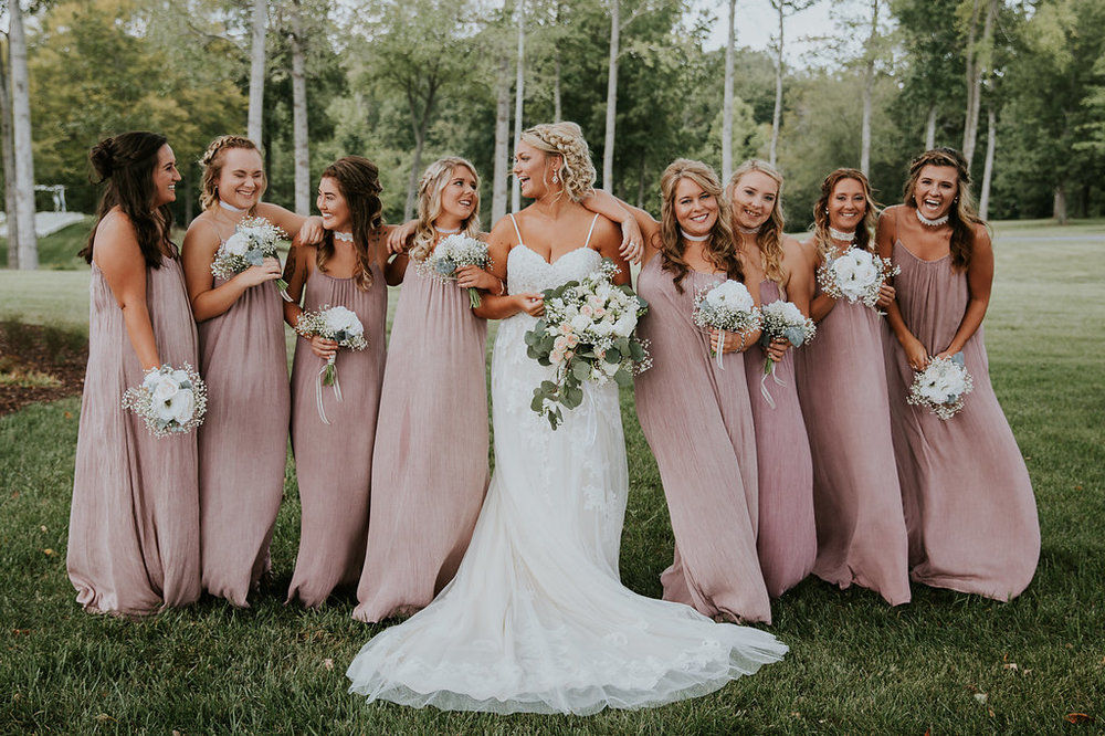 Blush Long Bridesmaid Dresses - North Carolina Wedding Venue - Triple J Manor House Wedding