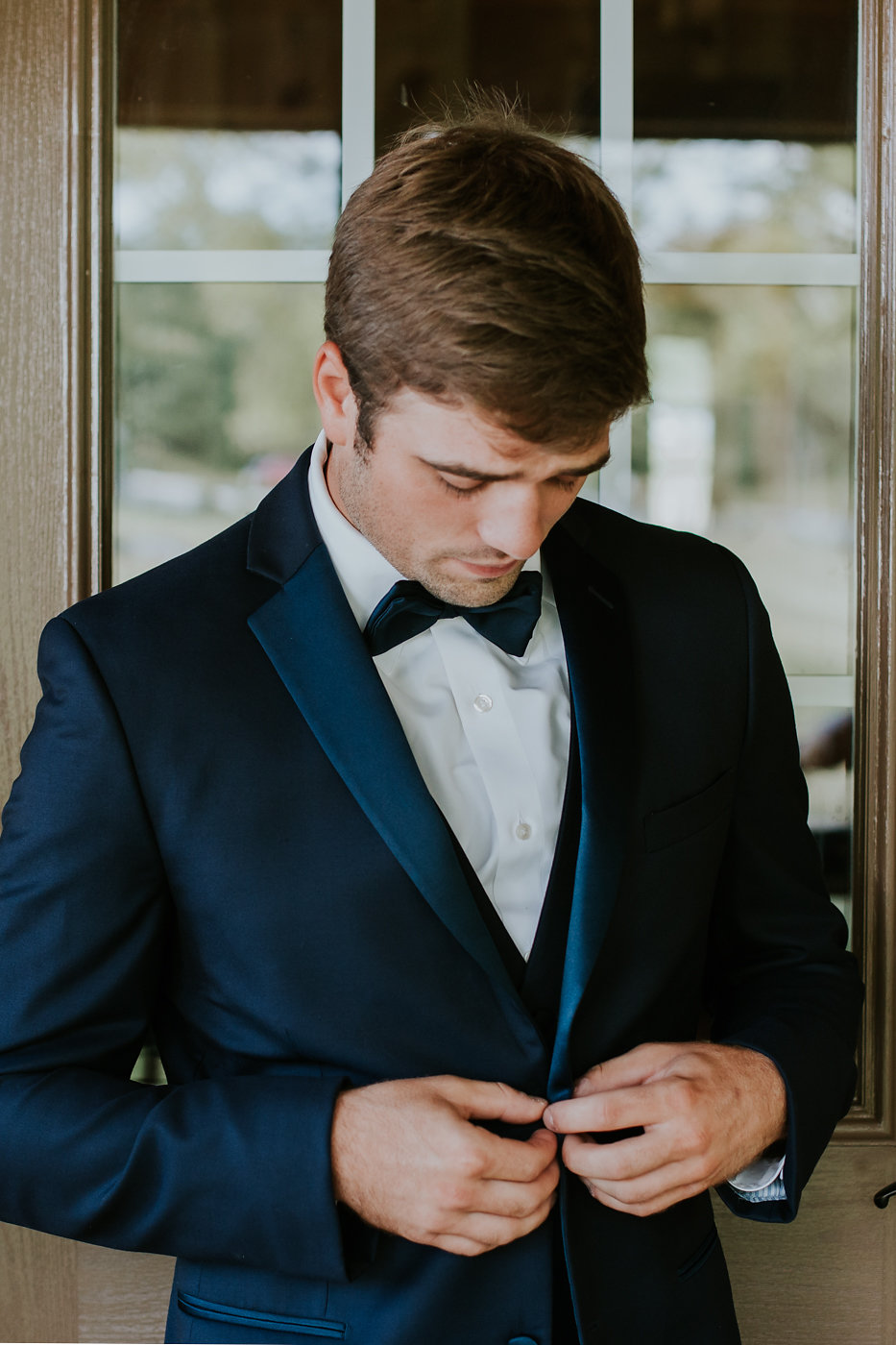 Navy Groom's Suit - North Carolina Wedding Venue - Triple J Manor House Wedding