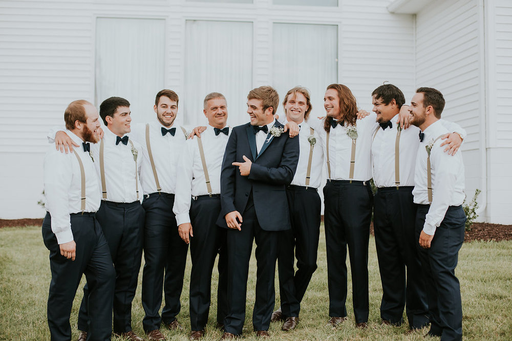 Groomsmen Wearing Suspenders - North Carolina Wedding Venue - Triple J Manor House Wedding