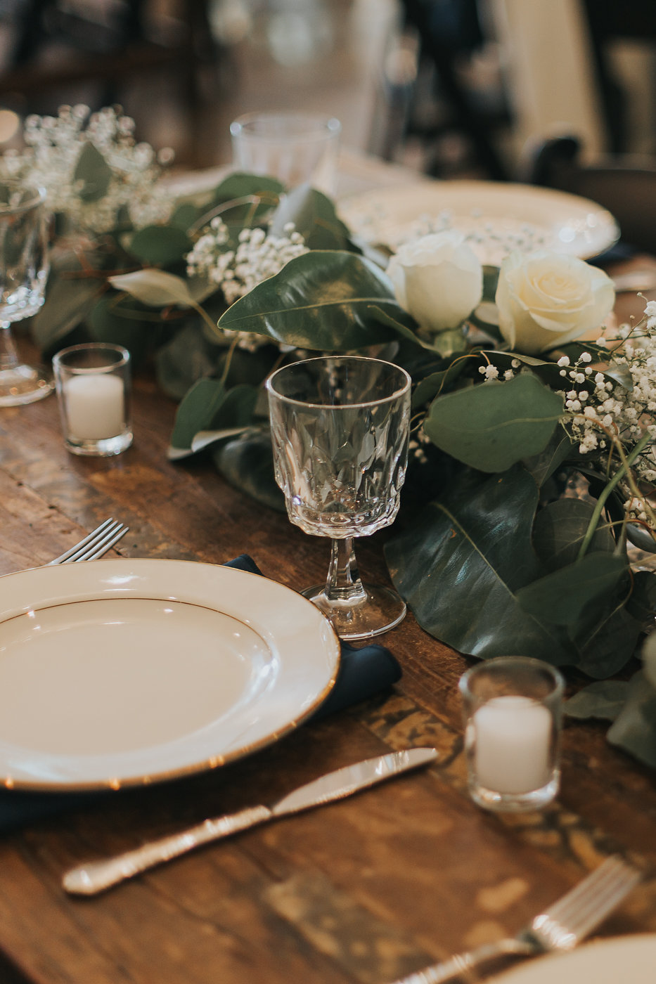 Eucalyptus Wedding Table Runner - North Carolina Wedding Venue - Triple J Manor House Wedding