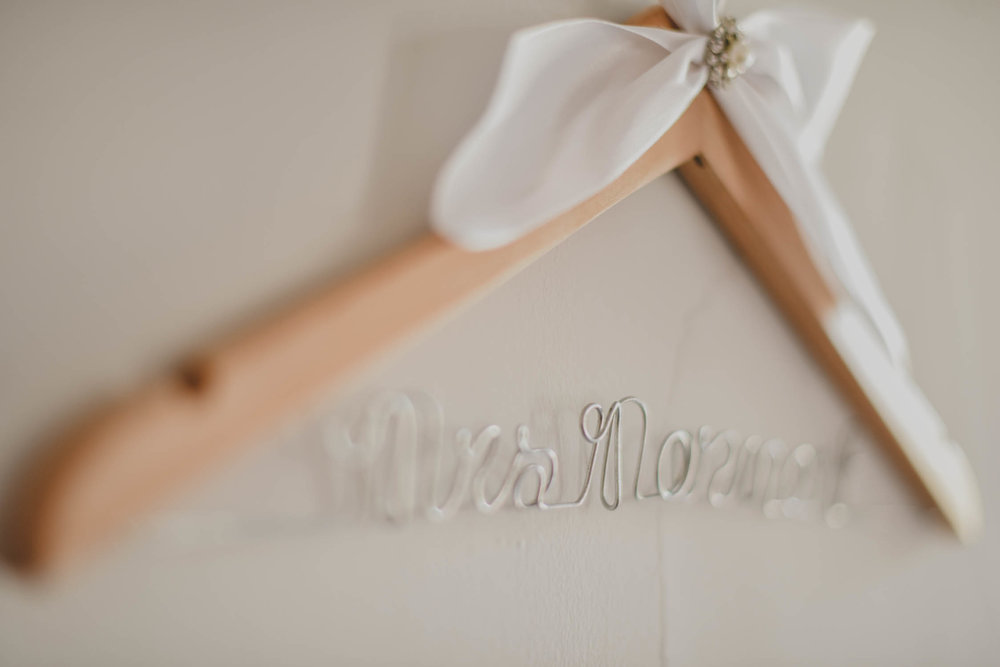 Custom Wooden Wire Bride Hanger - Downtown Dallas Wedding Venue - El Fenix Wedding