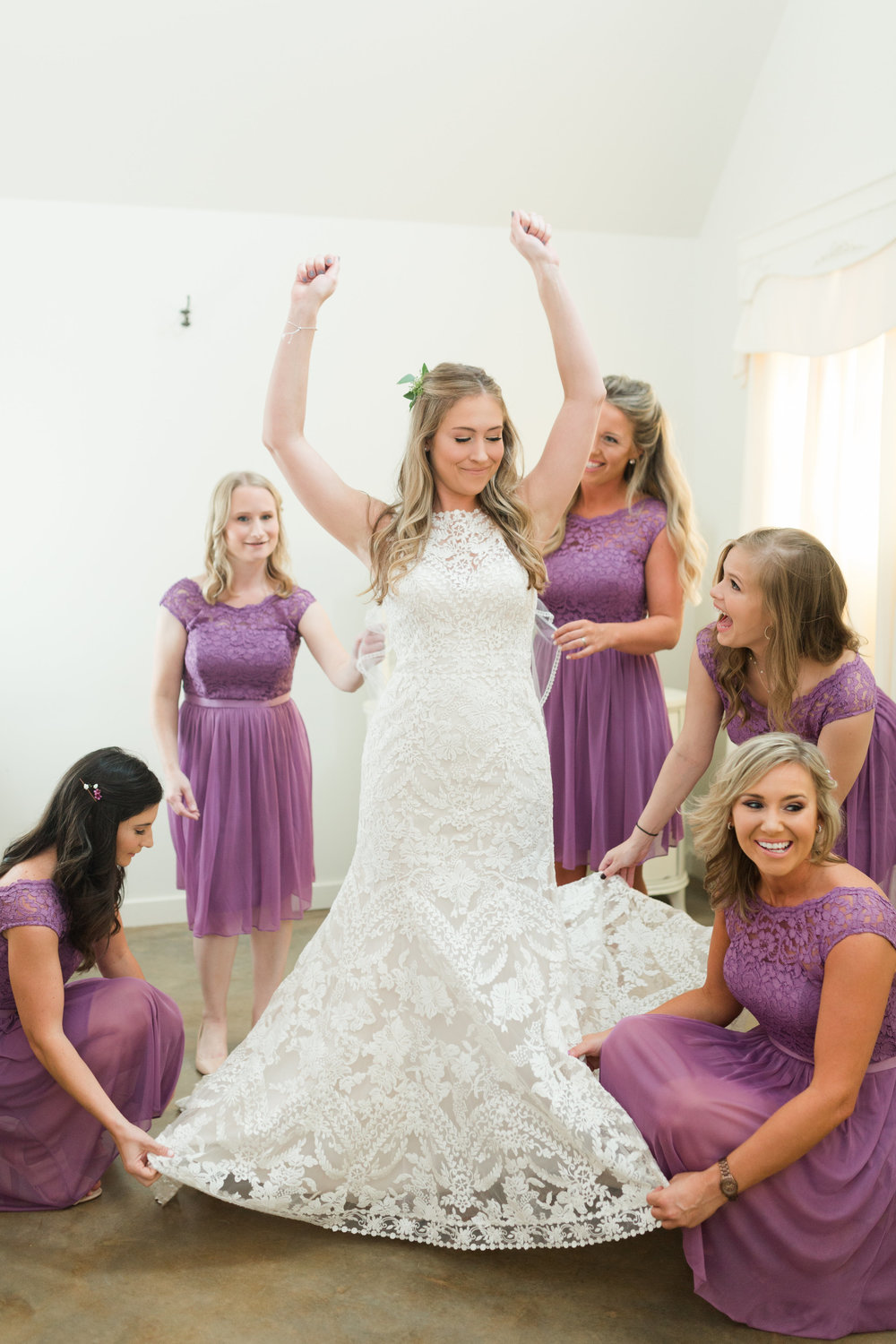 Lace Wedding Dress - Purple Bridesmaid Dresses - Heritage House Wedding - Georgetown, Texas Wedding Venue