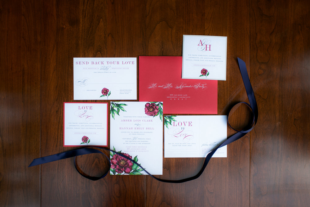 Red Wedding Invitations - Colchester, Connecticut Wedding Photographer
