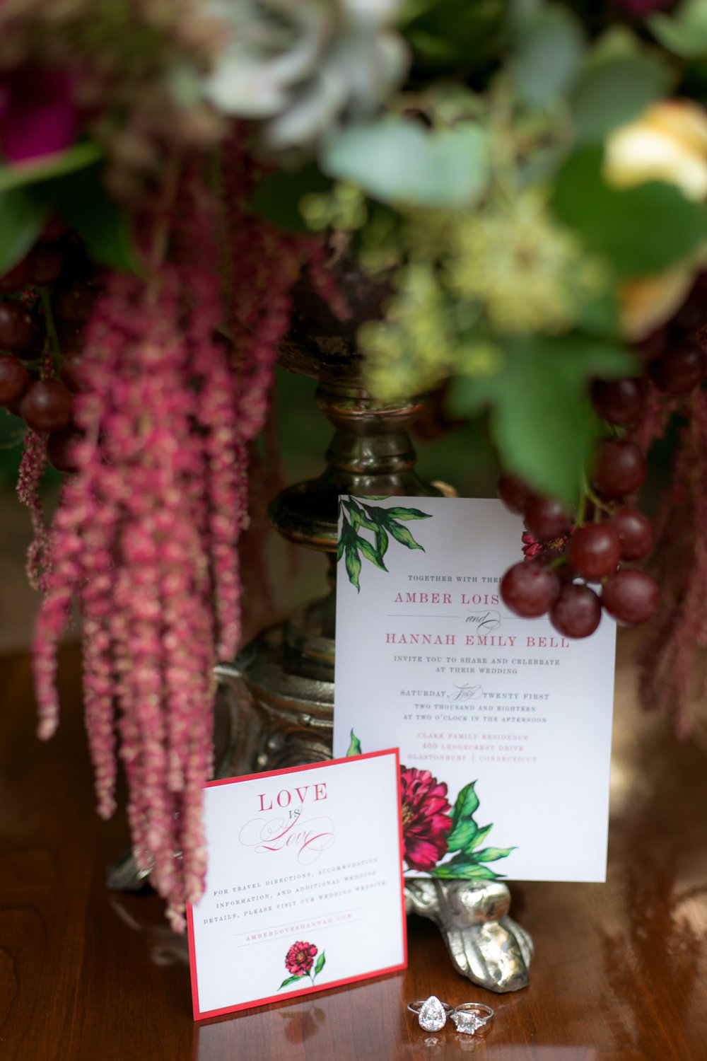 Red Floral Wedding Invitations - Colchester, Connecticut Wedding Photographer