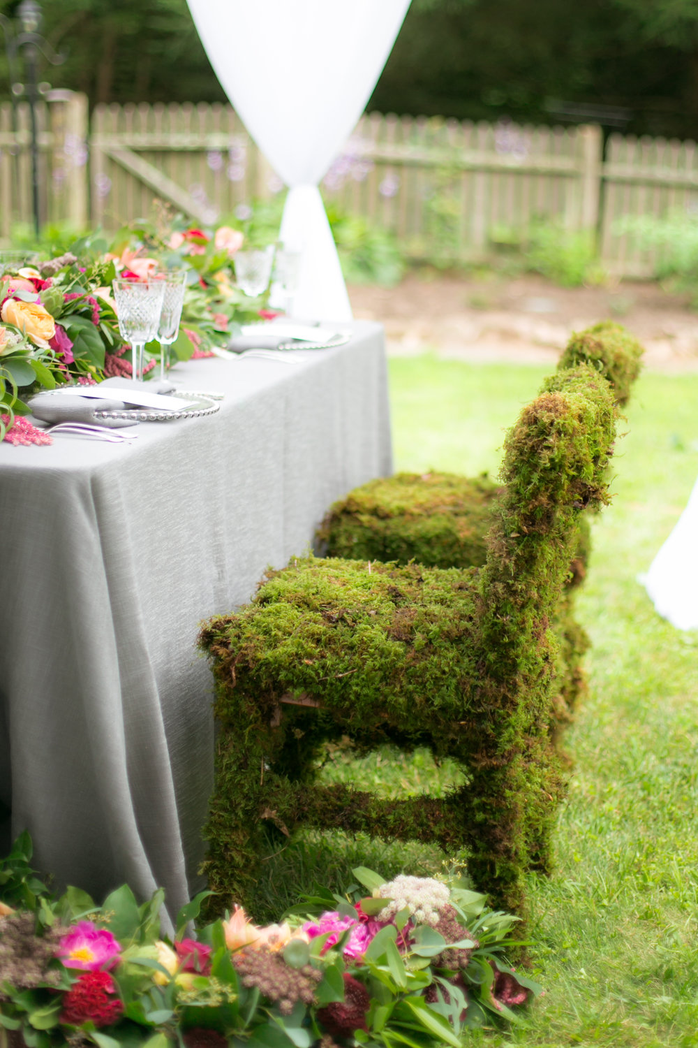 Grass-Moss Covered Wedding Chairs - Colchester, Connecticut Wedding Photographer