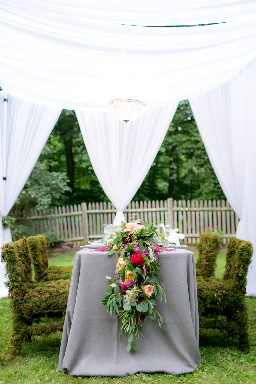 Floral Wedding Table Runners - Colchester, Connecticut Wedding Photographer