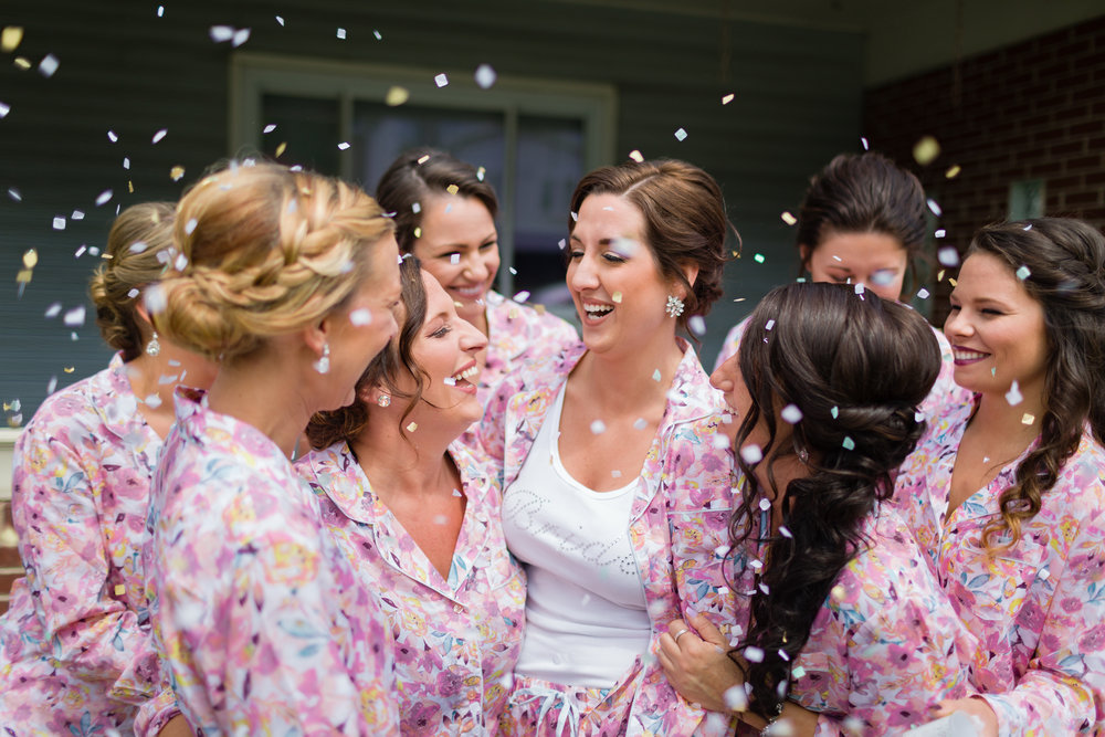Pink Floral Bridesmaid Robes - Pittsburgh Wedding Venue - Duquesne University Wedding