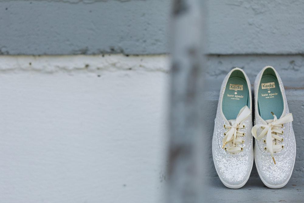 White Bridal Tennis Shoes - Pittsburgh Wedding Venue - Duquesne University Wedding