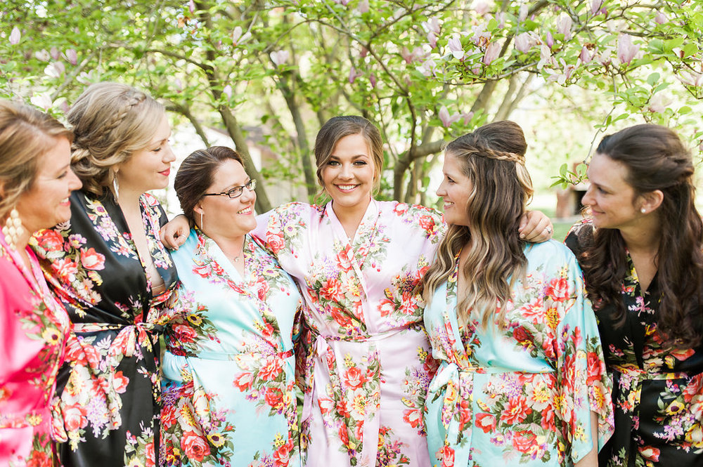 Floral Bridesmaid Robes - Iowa Farm Wedding - Private Estate Weddings