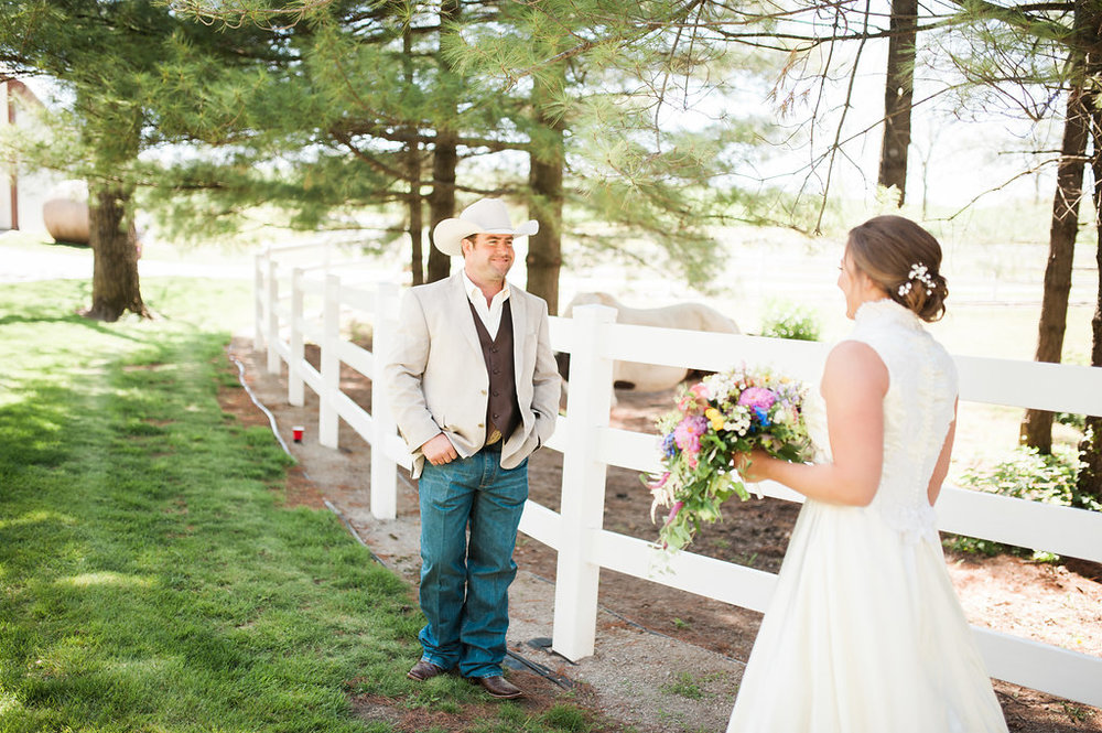 Wedding First Look Photos - Iowa Farm Wedding - Private Estate Weddings