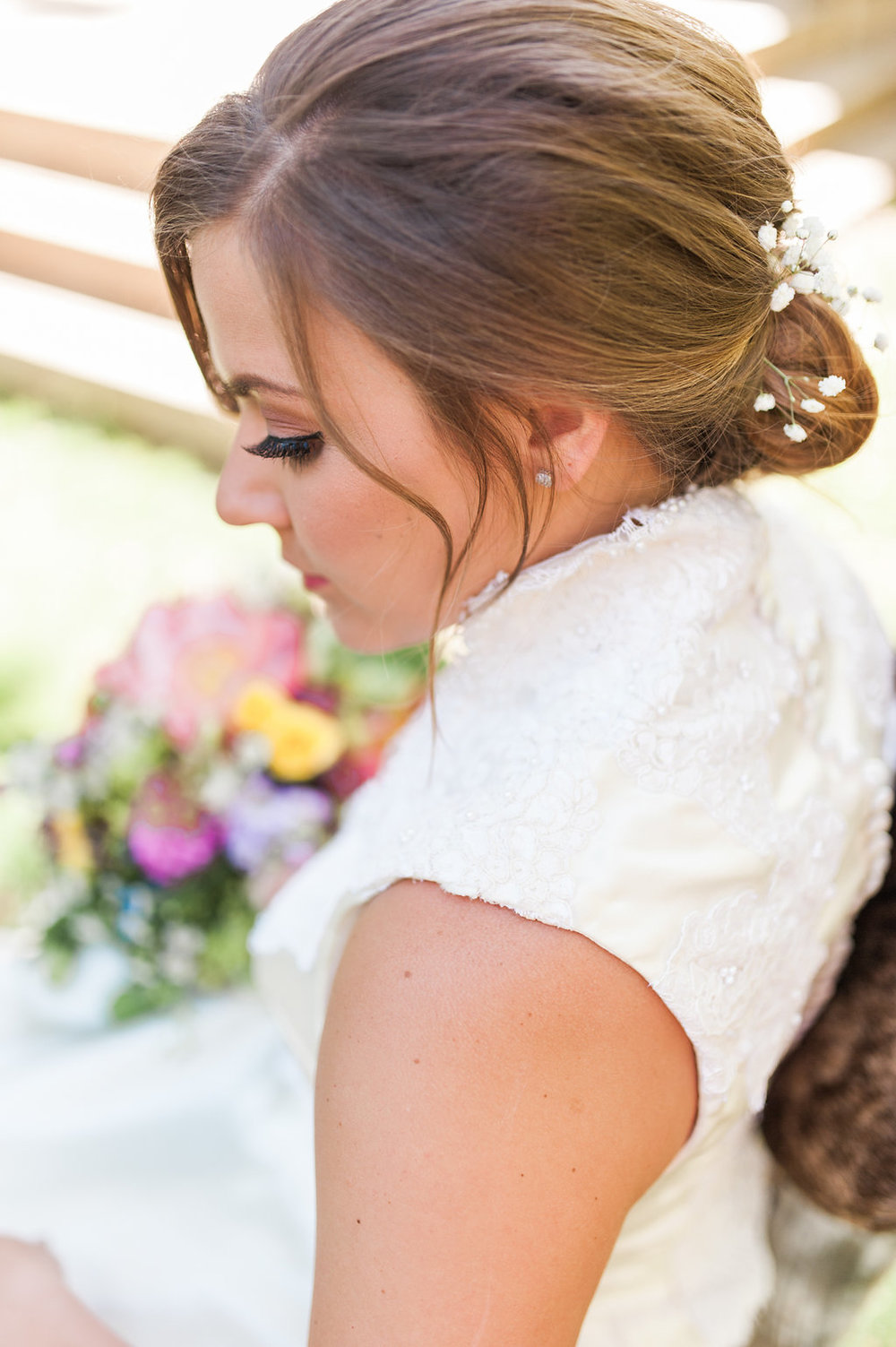 Bridal Bun Hairstyles - Iowa Farm Wedding - Private Estate Weddings