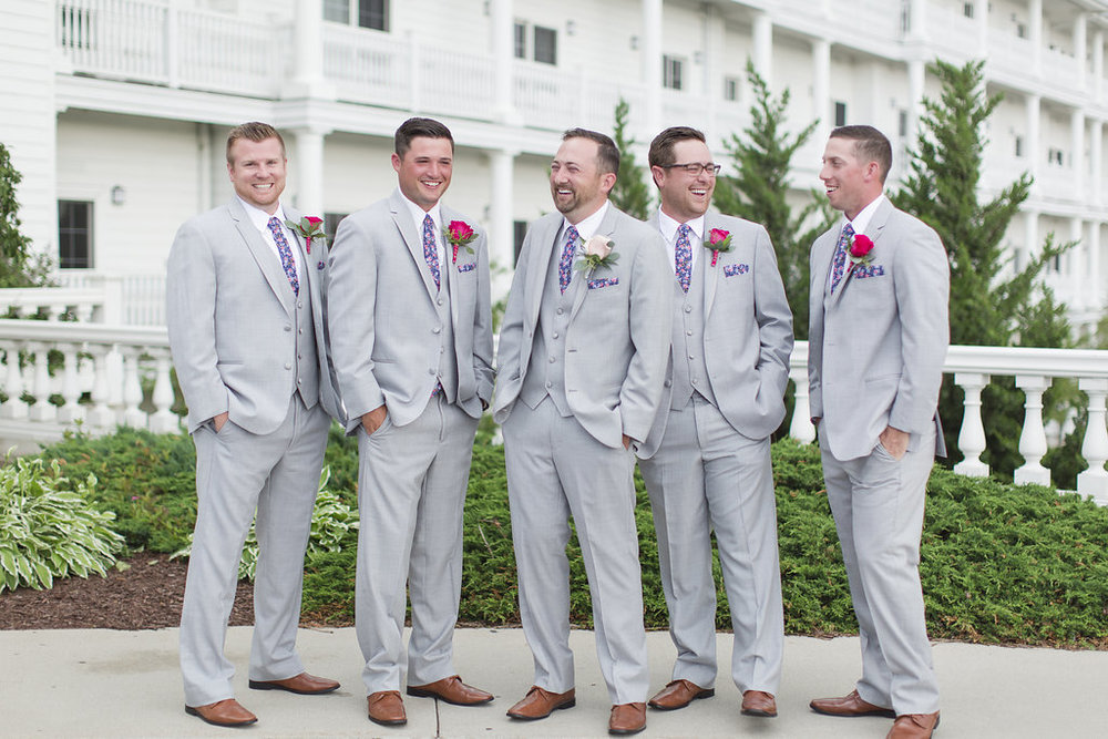 Grey Groomsman Suit Rental - Sheboygan Town & Country Golf Club Wedding - Wisconsin Wedding