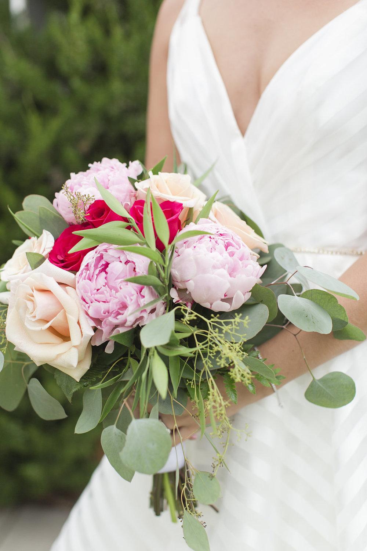 Pink and Red Wedding Bouquet - Sheboygan Town & Country Golf Club Wedding - Wisconsin Wedding