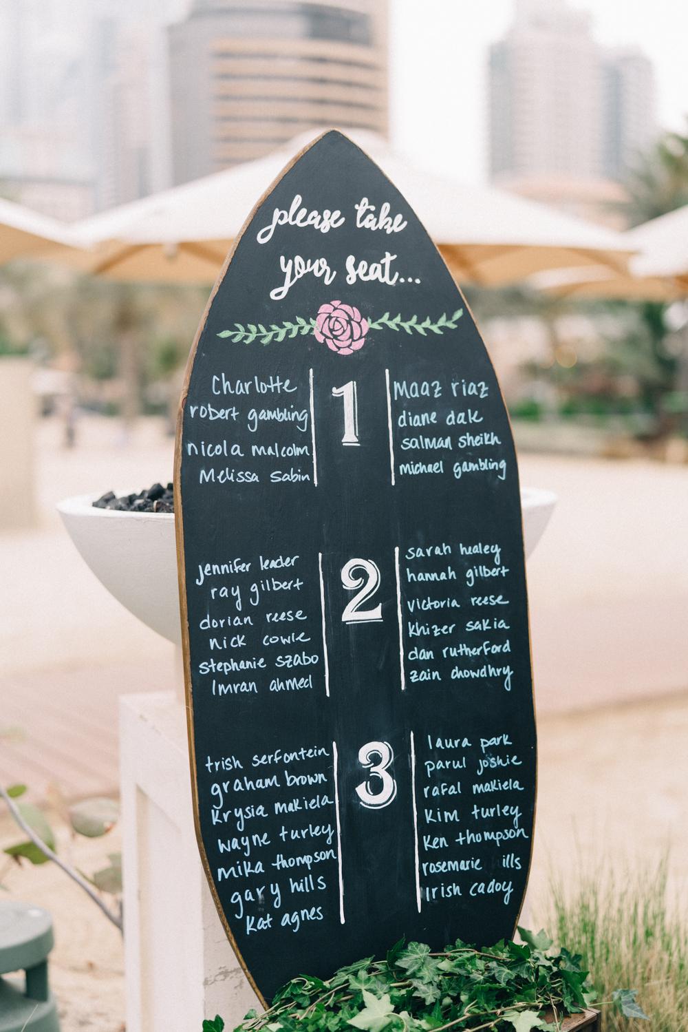 Unique Chalkboard Wedding Seating Charts - An Intimate Ritz Carlton Dubai Wedding
