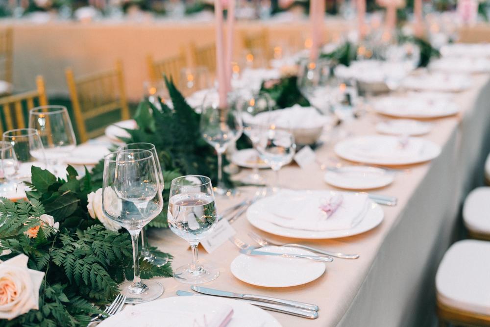 Gorgeous Long Table Wedding Tablescapes - An Intimate Ritz Carlton Dubai Wedding
