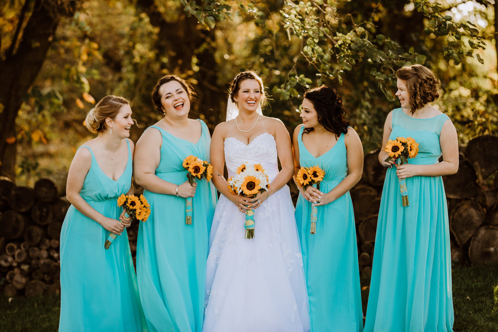 Teal Bridesmaid Dresses - A Pennsylvania Barn Swallow Farm Wedding