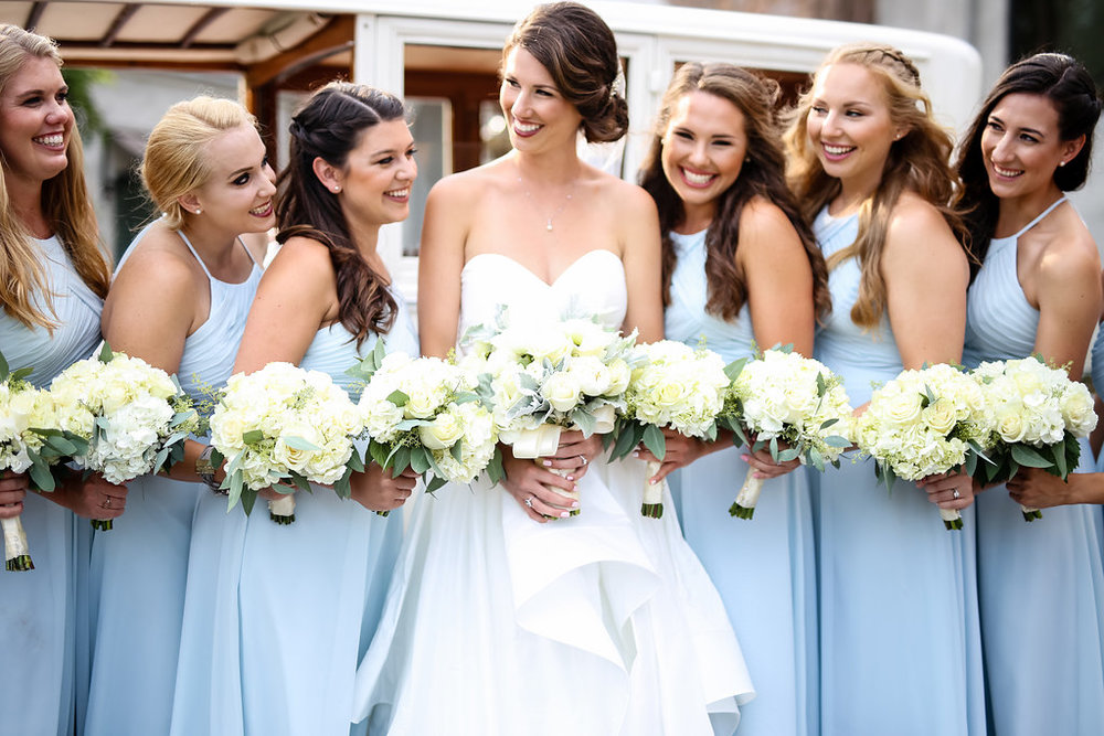 Light Blue Bridesmaid Dresses - Gorgeous Seal Beach Wedding Venue - Old Country Club Wedding