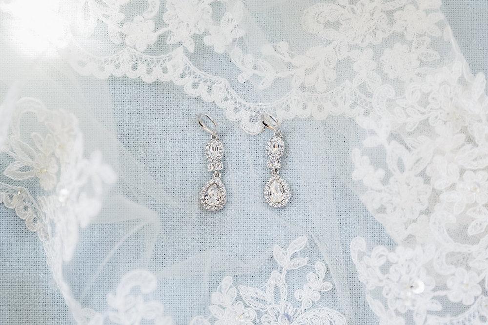 Tear Drop Gorgeous Bridal Earrings - Science Museum of Virginia Wedding