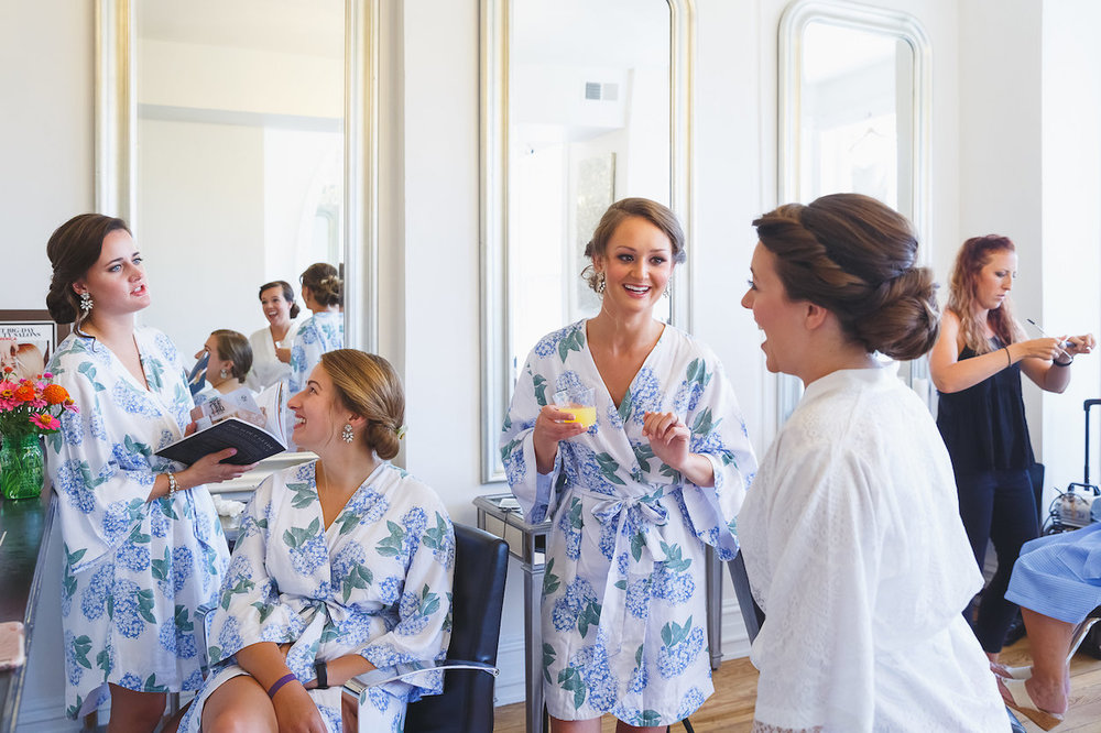 Light Blue Floral Bridesmaid Robes - Science Museum of Virginia Wedding
