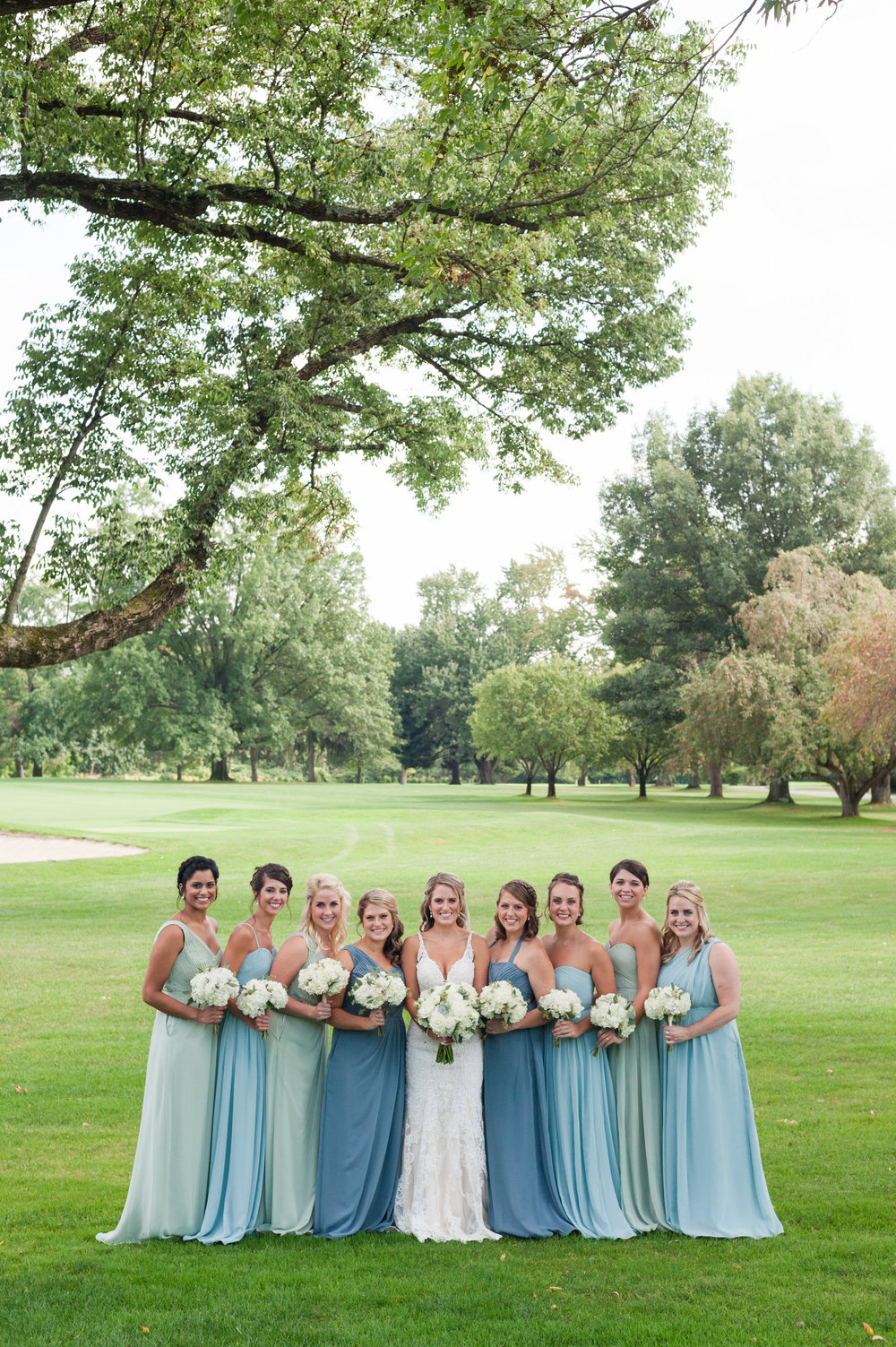 Teal and Blue Bridesmaid Dresses