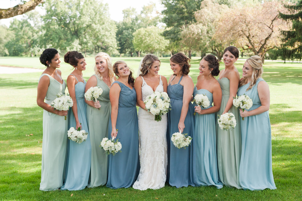 Teal and Green Bridesmaid Dresses
