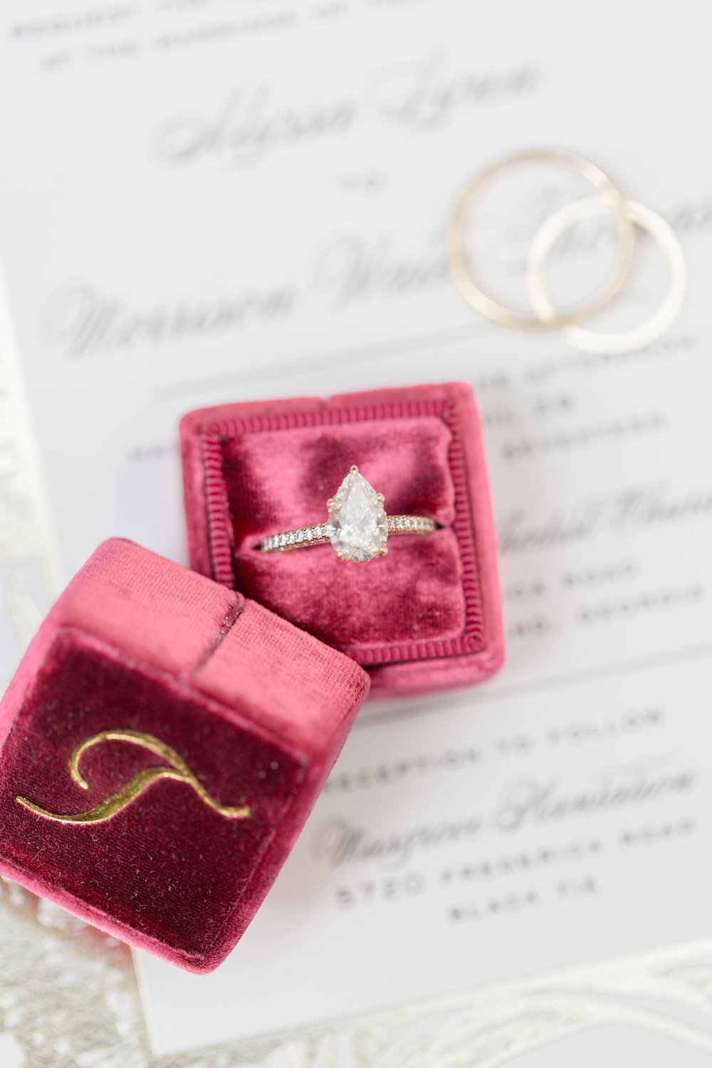 Pear Shaped Engagement Ring - Musgrove Plantation Georgia Wedding Venue