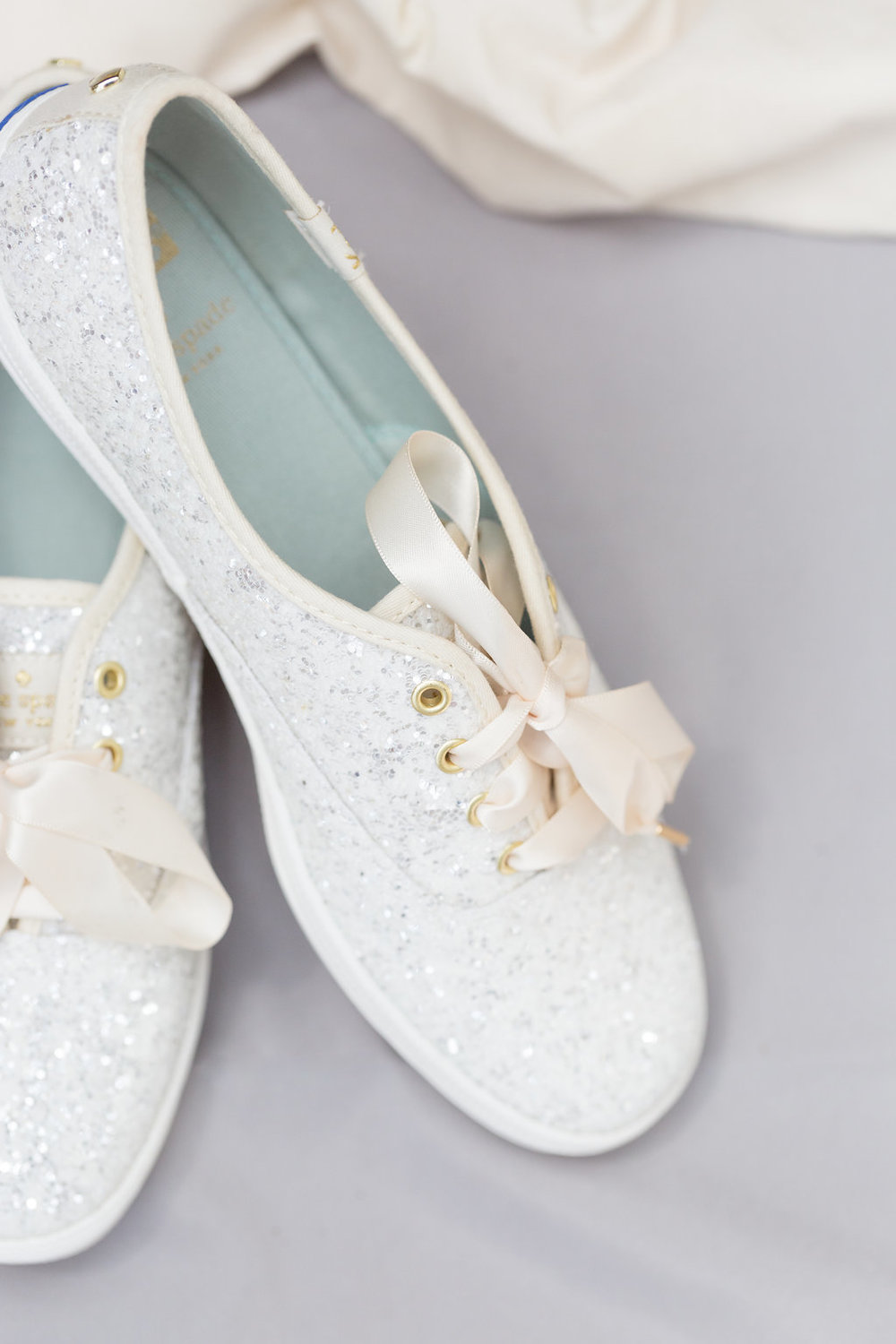 Flat White Bridal Tennis Shoes - Musgrove Plantation Georgia Wedding Venue