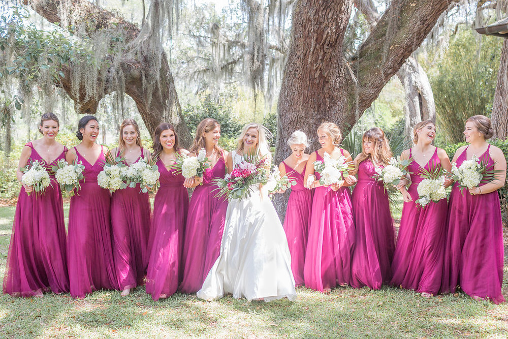 Dark Pink Bridesmaid Dresses - Musgrove Plantation Georgia Wedding Venue