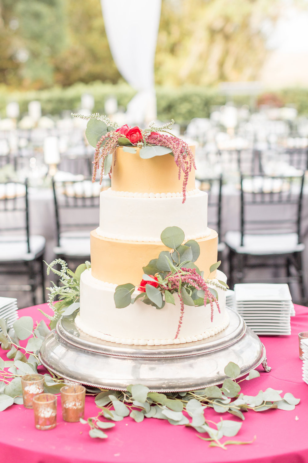 Gold and White Wedding Cake - Musgrove Plantation Georgia Wedding Venue