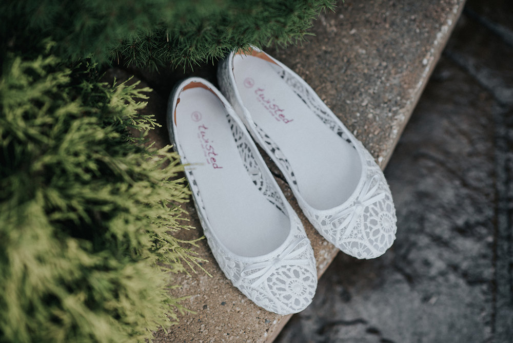 White Bridal Flats - Meadow Ridge Farm Ohio Wedding
