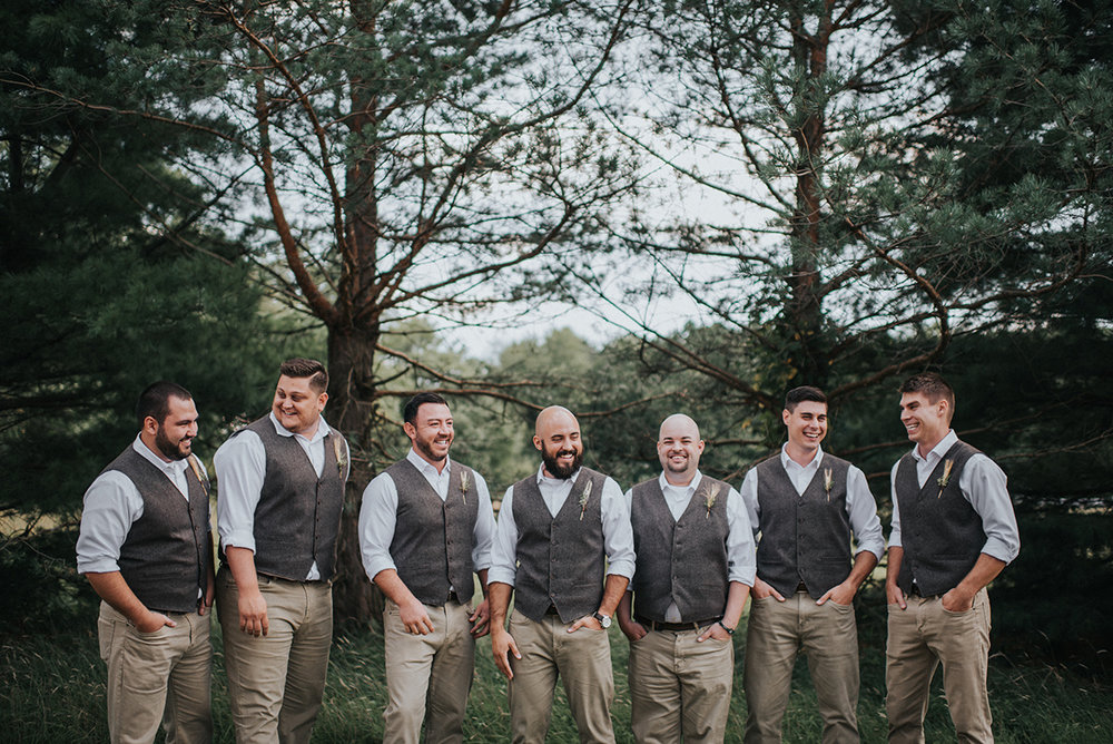 Rustic Wedding Groomsman Attire - Meadow Ridge Farm Ohio Wedding