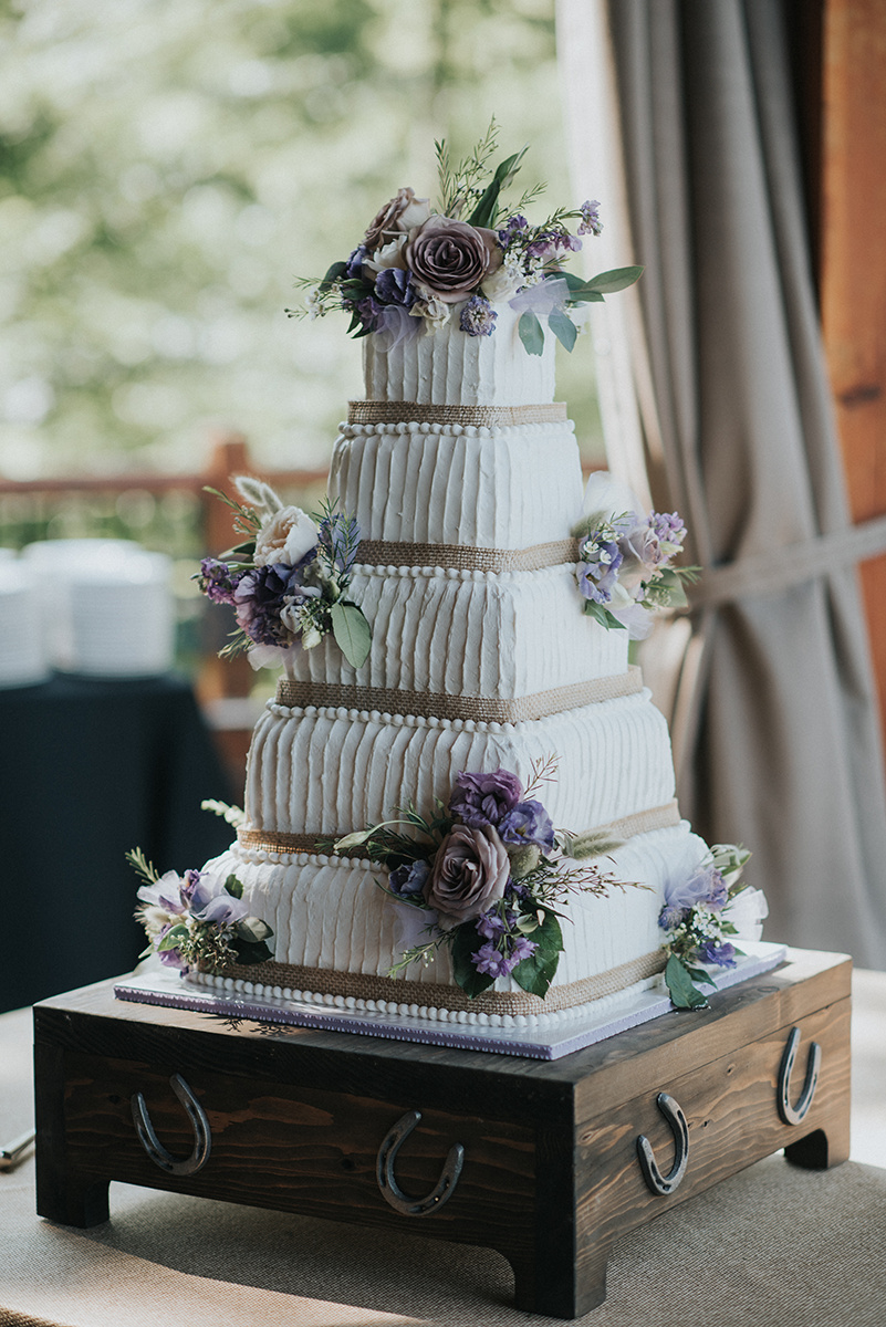 Simple Rustic Wedding Cake - Meadow Ridge Farm Ohio Wedding