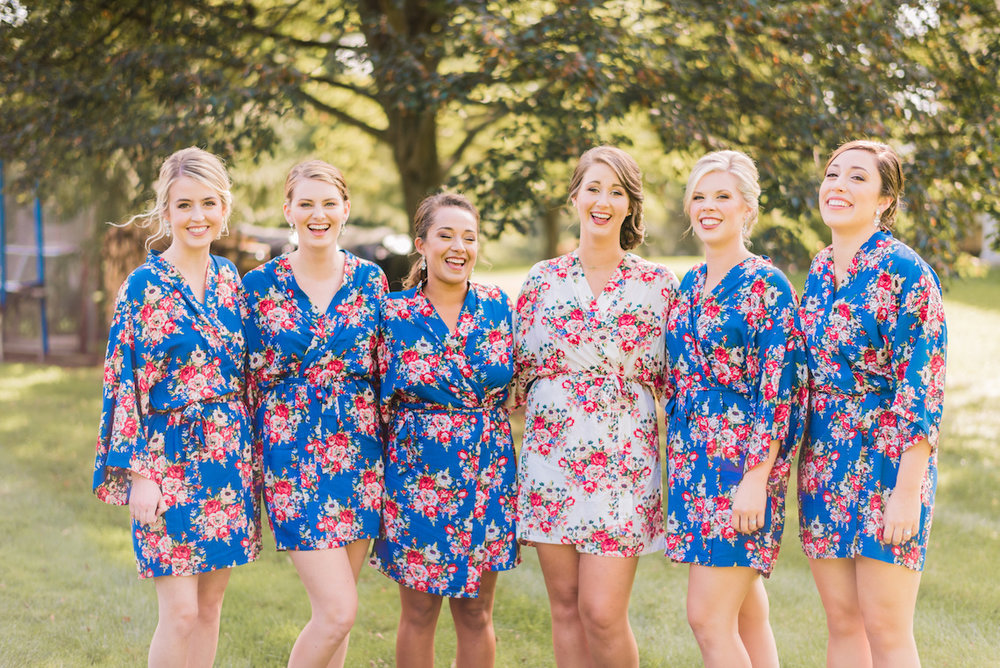 Floral Bridesmaid Robes - A Philander Chase Knox Estate Pennsylvania Wedding