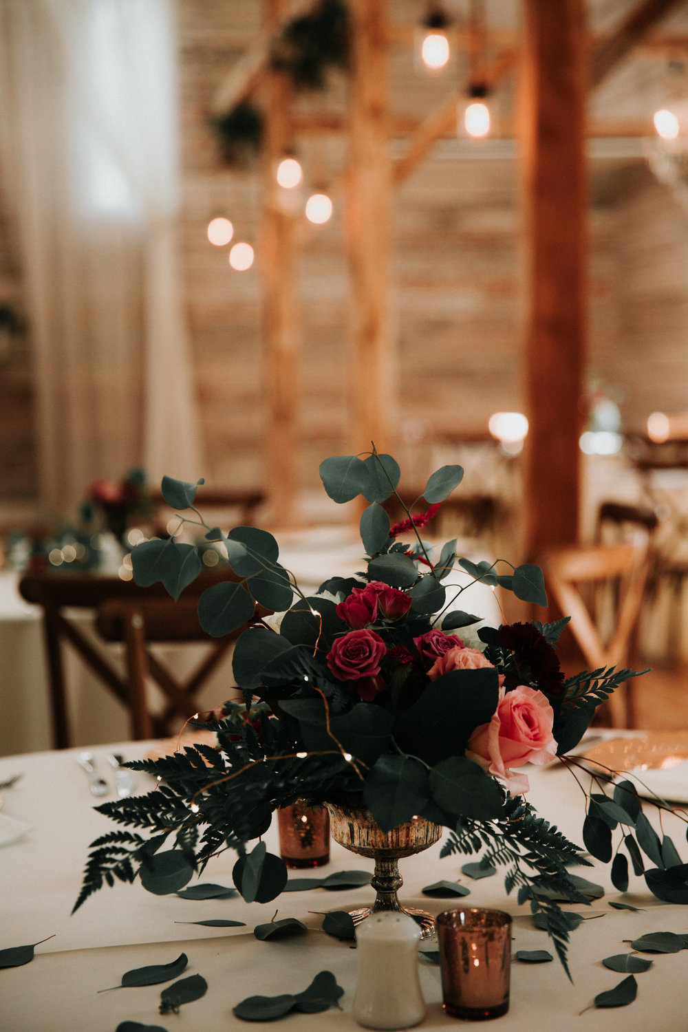 Gorgeous Floral Wedding Centerpieces - Athens, Tennessee Barn Wedding -- The Overwhelmed Bride Wedding Blog