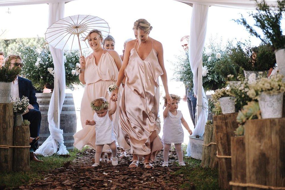 Blush Bridesmaid Dresses - Farm-Forest Wedding - The Overwhelmed Bride Wedding Blog