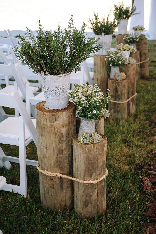 Rustic Ceremony Wedding Decor - Farm-Forest Wedding - The Overwhelmed Bride Wedding Blog