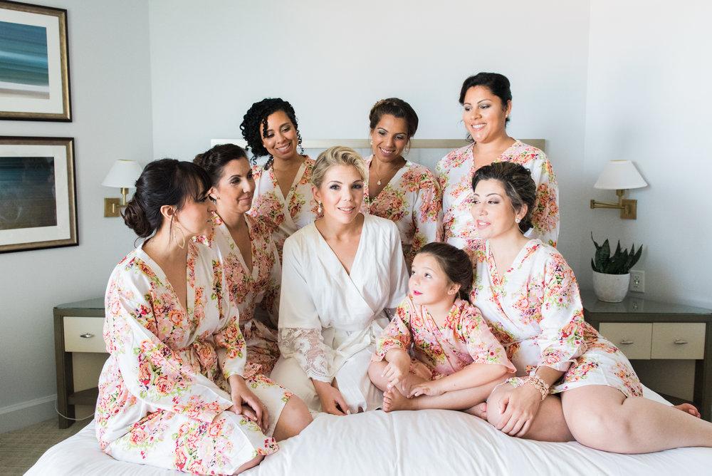 Floral Bridesmaid Robes - Flagler Museum Palm Beach Wedding Venue - The Overwhelmed Bride Wedding Blog