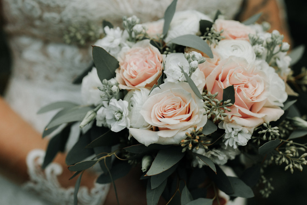 Gorgeous Blush Bridal Bouquet - Dara's Garden Knoxville East Tennessee Wedding — The Overwhelmed Bride Wedding Blog