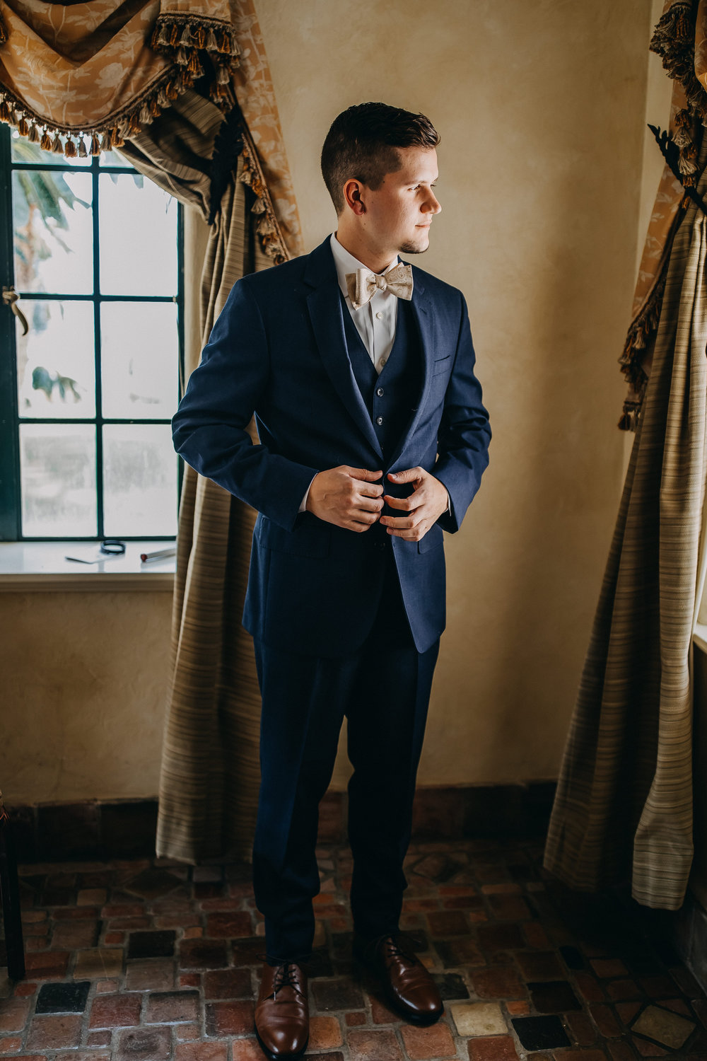 Navy Blue Groom Suit - Florida Estate Wedding - Powel Crowley Estate Wedding