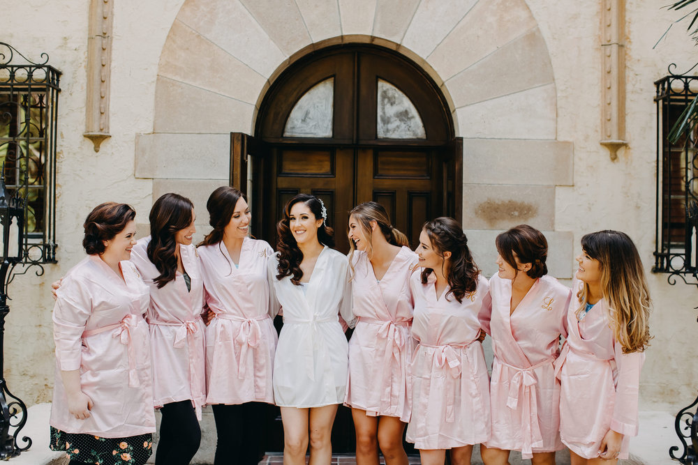 Pink Bridesmaid Robes - Florida Estate Wedding - Powel Crowley Estate Wedding