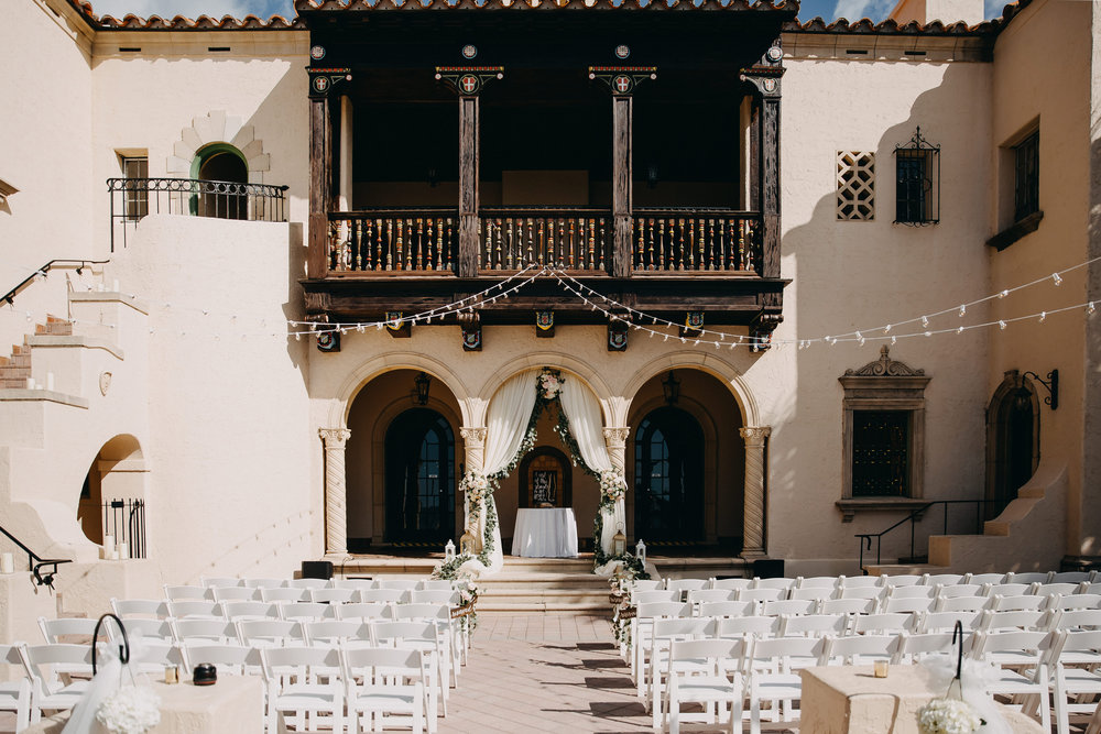 Courtyard Wedding Ceremony - Florida Estate Wedding - Powel Crowley Estate Wedding