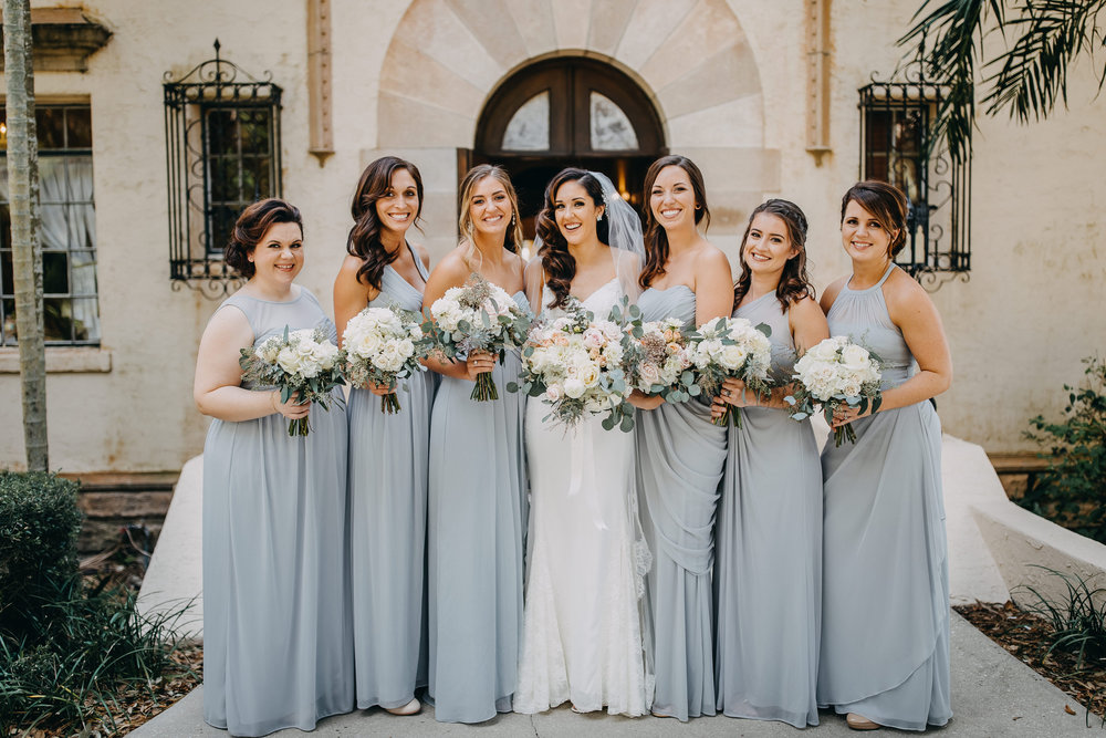 Greyish Blue Bridesmaid Dresses - Florida Estate Wedding - Powel Crowley Estate Wedding