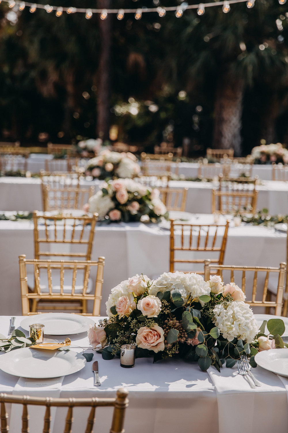 Rectangular Wedding Tables - Florida Estate Wedding - Powel Crowley Estate Wedding