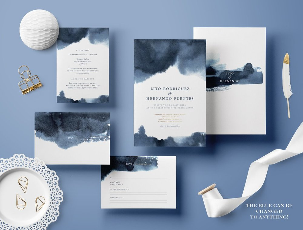 Spring Watercolor Wedding Invitations - The Overwhelmed Bride Wedding Blog