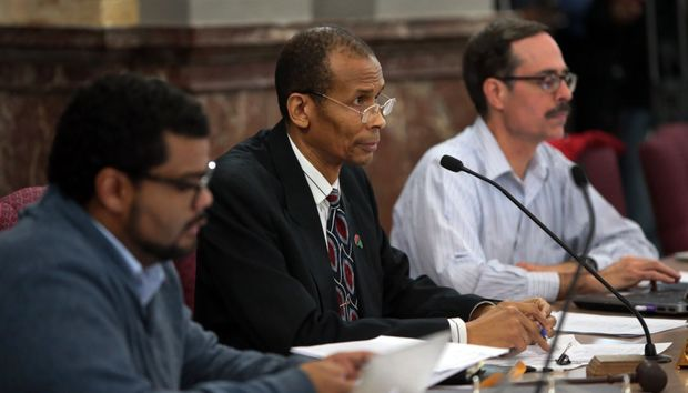 St. Louis Aldermen Antonio French (left), committee chairman Terry Kennedy and Craig Schmid attend a committee meeting proposing a civilian oversight review at City Hall on Wednesday, Jan. 28, 2015. Photo by Robert Cohen, rcohen@post-dispatch.com