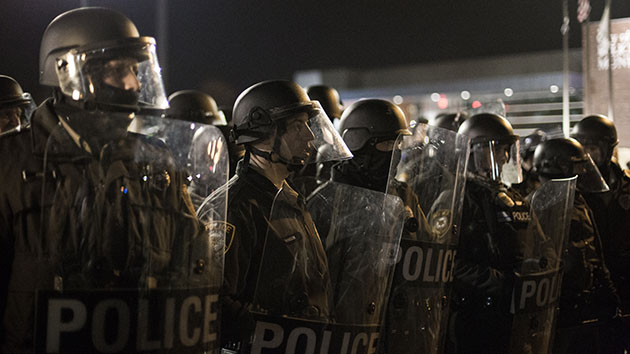 Police in riot gear on Nov. 29, 2014, in Ferguson, Missouri. Jim Vondruska/Xinhua/Zuma